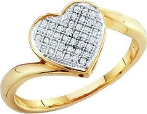 0.05CT DIAMOND HEART RING -Heart full of love in you and heart full of diamonds in this rings nothing better could express your words than this beautiful 10 karat yellow gold base and 0.05 carat diamond weight ring. Get yours today!
