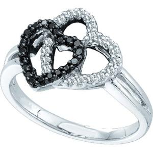 0.27CT ROUND WHITE AND BLACK DIAMOND HEART RING-An endearing hearts display centers this beautiful white and black diamond in white gold, housing round diamonds make this a stellar piece set in 14 karat white gold.