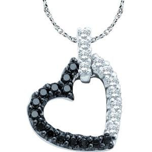 0.26CTW WHITE AND BLACK ROUND DIAMOND LADIES FASHION PENDANT-Bold black diamonds with sparkling white diamonds along a crisp white gold heart to create a look that is simple and beautiful. This sleek and stunning 0.26 carat (ctw) diamond heart pendant which includes an 18 inch box chain is the affordable and fashionable gift.