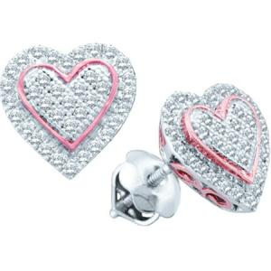 0.25CT-DIAMOND HEART MICRO-PAVE EARRING - Micro pave set diamonds congregate to form this special heart earrings crafted in stellar 10 KT white gold and a touch of rose gold .Total diamond weight is 0.25 carats