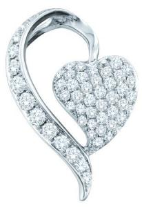 0.75CT DIAMOND FASHION PENDANT WITH CHAIN - This unique 0.75 carat diamond  heart pendant is sure to dazzle and impress. Elegantly set sparkling round diamonds set in 14 karat white gold are off set by additional  brilliant round cut diamonds displayed  sash which frames the heart. A stunning balance of geometry and whimsy