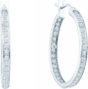 0.25CT ROUND DIAMOND FASHION HOOPS - These icy 14 karat white gold post hoop earrings flaunt a stellar arrangement of diamonds, fashioning a look you simply cannot forego. Total diamond weight here equals 0.25 cts . Enjoy ordering these today!