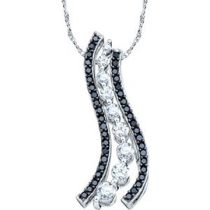 0.50 CTW JOURNEY PENDANT LINED WITH BLACK DIAMONDS - Flowing vines of white gold replete with black and white diamonds are the main attractions in this sublime pendant featuring 0.50 carat (ctw) of sizzling stones