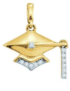 0.08CT-DIAMOND FASHION PENDANT WITH CHAIN - Honor their achievement and celebrate it with this graduation charm pendant which is sure to cherish for the years of remembrance.