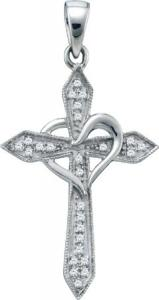 0.10 CARAT DIAMOND CROSS PENDANT- Embrace your heart with this divine cross pendant elegantly crafted in 10kt white gold. Cross Pendant is approximately 1