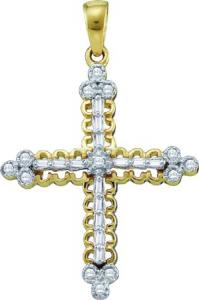 0.07CT-DIAMOND CROSS PENDANT WITH CHAIN -Intricate flow of yellow gold  beautiful diamonds  beam brightly from within this angelic cross pendant complete with gold chain.