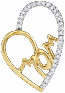 0.10 c.t.w Diamond Mom Fashion Pendant in 10 Karat Yellow Gold with matching chain.