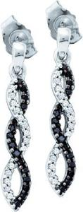 0.15CT DIAMOND FASHION EARRING -This diamond twine earrings features enhanced black and white diamonds in a 10K white gold setting.