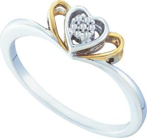 0.025CT DIAMOND HEART RING -An endearing heart display centers this beautiful white gold heart  ring, housing a flower of diamonds right at the center further highlighted with a touch of yellow gold.