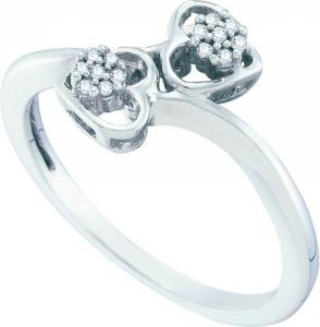 0.05CT DIAMOND HEART RING -Two hearts embrace to unite this flower diamond ring set in 10 karat white gold