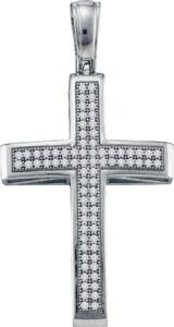 0.25CT-DIAMOND CROSS PENDANT WITH CHAIN - Wear your faith in style with this beautiful two  row of diamond cross pendant crafted in lustrous white gold. A delicate gold chain is also included.