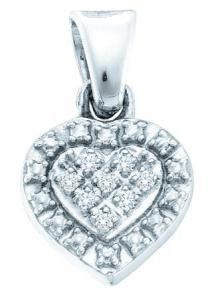 0.03CT DIAMOND HEART PENDANT WITH CHAIN -Embellished with a 0.03 carat (ctw) of diamonds, this stunning heart shaped pendant is set in sterling silver