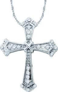 0.10CT DIAMOND CROSS PENDANT WITH CHAIN - Fashioned in 10 karat white gold beautiful diamonds  beam brightly from within this angelic cross pendant complete with gold chain.