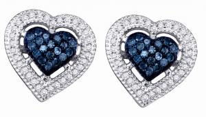 These heart-shaped 10 Karat earrings become a look of unmatched beauty.Shiny white diamonds outline the romantic design. For a special occasion or everyday wear, these 0.40 ct. t.w. blue and white diamond earrings always look amazing.