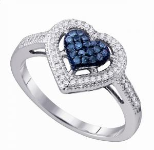 Gift this beautiful heart shaped ring to that special someone and watch her face light up with happiness. The beautiful 0.25 carat T.W. round treated blue and white diamond ring shimmers. Bring a touch of romance to her everyday life.