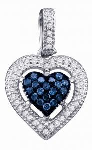 An endearing heart display centers this beautiful white and blue diamond total 0.21 ctw in white gold, housing round diamonds make this a stellar piece set in 10 karat white gold. Includes box chain.