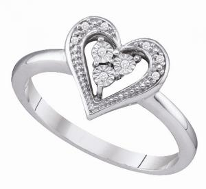0.02ctw Heart Ring in 10 Karat White Gold