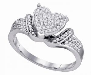 0.20 ctw Fashion Heart Ring in 10 Karat White Gold