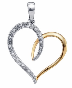 0.04 c.t.w Diamond Heart Pendant in Two Tone Silver with 18 inches silver box chain.