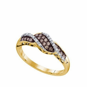 0.21 ct Cognac Diamond Fashion Ring--Glamorous enhanced cognac and white diamonds totaling 0.21 ct. give this lovely, twist over ring a trendy touch with round diamonds in 10K yellow gold