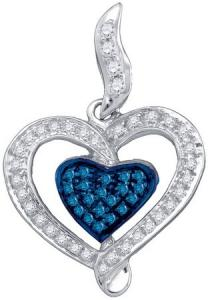 0.27CT BLUE DIAMOND HEART PENDANT WITH 18.0' INCH BOX CHAIN