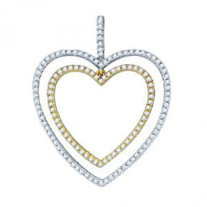 0.50CT-DIAMOND HEART PENDANT WITH 18 INCH 10KT WHITE GOLD BOX CHAIN.