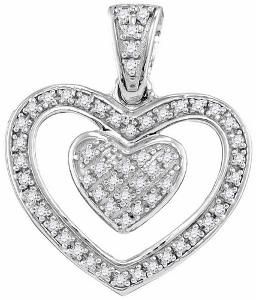 Diamond heart pendant: This diamond heart pendant has 0.11 Carat total weight of diamonds set in sterling silver.