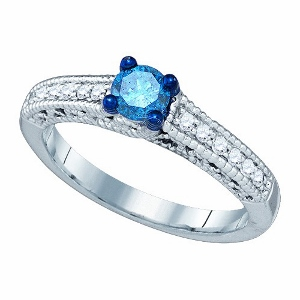 0.53 ctw Diamond Fashion Ring-Fit for those extremely extravagant occassions, this special 10 karat white gold ring emblazons a sparkling princess cut blue diamond in the center as a row of white diamonds set along the glittering sides. Total diamond weight equals 0.53 ctw