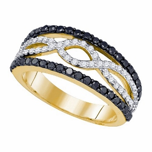 1 c.t Diamond Fashion Band with black and white diamond in 10 karat yellow gold.