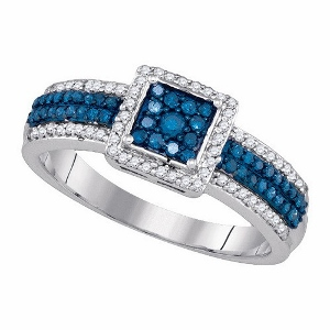 Blue Diamond Engagement Ring- 0.50 ct Blue Diamond Engagement Ring in 10 Karat White Gold.Dazzle your loved one with this ravishing and sleek 10 karat white gold engagement ring.Collection of round blue diamonds contributing towards a diamond weight of 0.50 carat (ctw).