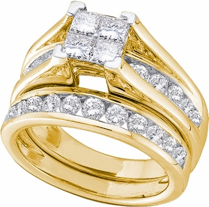 Diamond bridal set with princess cut and round diamonds. Engagement ring has a multi-stone invisible set princess cut center with round diamonds on the side and wedding band. Half carat Diamonds are set in 10 Karat Yellow gold.