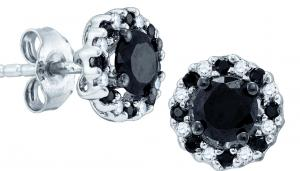 A fresh take on tradition, these diamond earrings were designed to captivate. Fashioned in sleek 10K white gold, each post earring features an enhanced black diamond center stone that catches the eye. A border of alternating bold black and shimmering white diamonds encircles this center stone, adding a unique finishing touch. Boasting 1 ct. t.w. of diamonds and a bright polished finish, these stud earrings secure comfortably with friction backs.