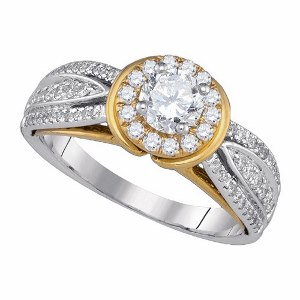 1.00 c.t.w Diamond Engagement Ring with 0.50 c.t.w Diamond in 14 Karat Two Tone Gold