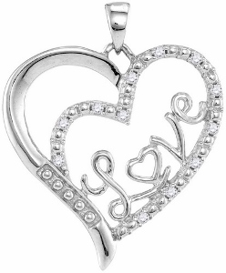 Love Diamond Heart Pendant: This heart shape pendant with love spelled inside. Heart pendant has 0.10 carat total weight of micro-pave diamonds set in sterling silver.