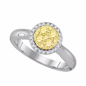 0.50 c.t.w Natural Yellow Diamond Ring in 14 karat White Gold.