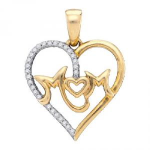 0.10 c.t.w Diamond Micro Pave Heart Mom Pendant with 10 Karat Yellow Gold Chain.