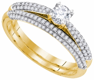 0.75c.t.w Diamond Bridal Set With 0.25c.t Diamond Center in 14 Karat Yellow Gold