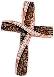 0.57CTW DIAMOND CROSS PENDANT WITH 18 INCH 10KT ROSE GOLD CHAIN.