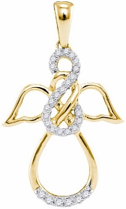 0.16 ctw Diamond Fashion Pendant in 10 Karat Yellow Gold with matching 10 Karat Yellow Gold Chain.