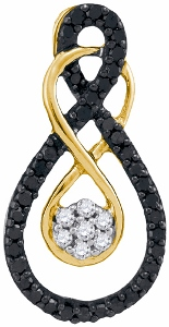 0.25 c.t.w Black Diamond Fashion Pendant in 10 Karat Yellow Gold with chain.