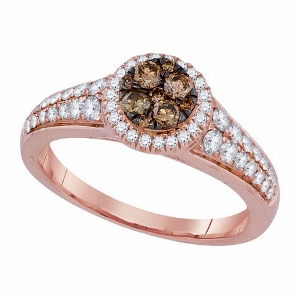 0.75 c.t.w Cognac Diamond Rose Gold Fashion Ring in 14 Karat Rose Gold Ring