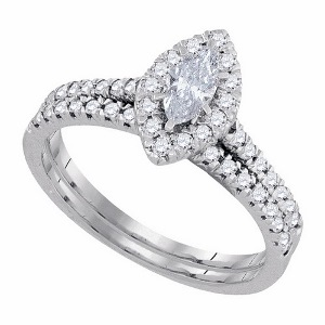 0.75 c.t.w Diamond Bridal Set with 0.33 c.t Center Marquise Diamond in 14 Karat White Gold