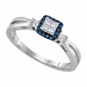 0.16 ctw Blue Diamond Invisible Ring--Focus on the sweet moments in life with a shimmering blue diamond engagement ring on your hand.0.16 ctw Diamond Ladies Engagement Ring with round blue diamonds and 10k white gold.