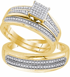 0.50 CTW Diamond Micro-Pave Trio Set- A keepsake honoring your romance and commitment to marriage, this stunning trio ensemble is elegantly crafted of warm, sparkling 10K gold. Together, cherish your love story for a lifetime with diamonds totaling 0.50ct