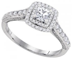1.00 c.t.w Diamond Engagement Ring With 0.35 c.t Princess Center in 14 Karat White Gold.