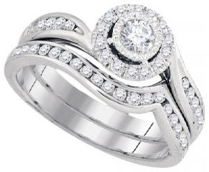 0.77 c.t.w Diamond Bridal Set with 0.18 c.t.w Center Round Diamond in 14 Karat White Gold.