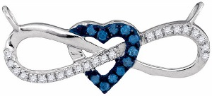 0.16 c.t.w Diamond Fashion Heart and Infinity Necklace in 10 Karat White Gold