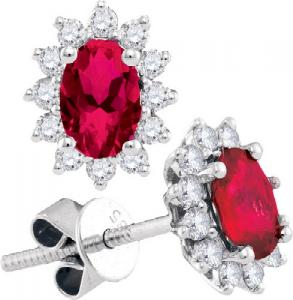 1.58CTW DIAMOND RUBY FASHION EARRINGS