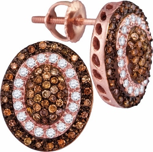 0.52CTW COGNAC DIAMOND FASHION EARRING- Swirl your style with this divine and yet contemporary earrings crafted in 10 kt rose gold and set in beautiful round diamonds.