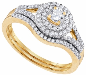 1/2 ctw Diamond Bridal Set With 0.20 ctw Round Diamond Center in 10 Karat Yellow Gold--You'll love the added sparkle this stunning diamond ring gives your look. 0.50 of glittering diamonds are carefully littered along the 10 karat yellow gold surface of most of this piece creating a design that is sure to melt your eyes with sultry brilliance total diamond weight of 0.50 carat (ctw)